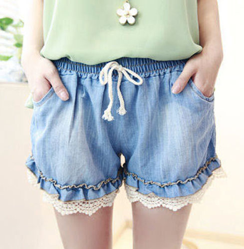 Free Shipping Summer Elastic Waist Lace Decoration Loose Culottes ...